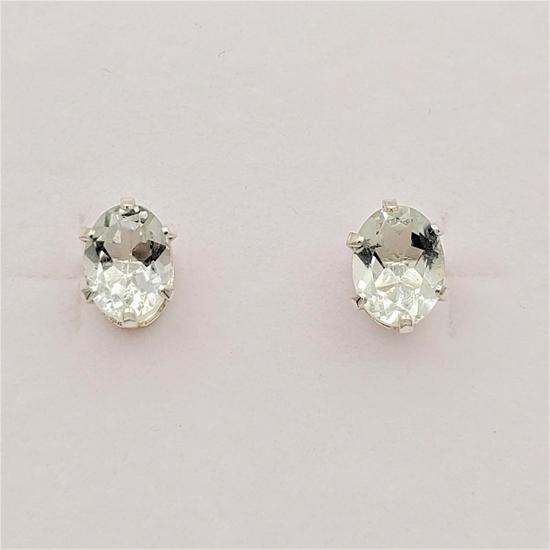 Sterling Silver Green Amethyst Earrings - New!