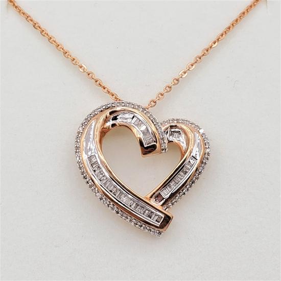 Brass Diamond Heart Pendant & Chain - New!