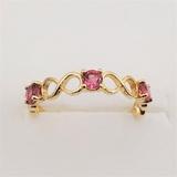 Yellow Gold 3 Pink Tourmaline Ring - New!