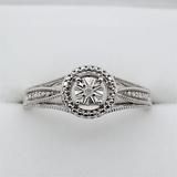 Sterling Silver Diamond Ring - New!