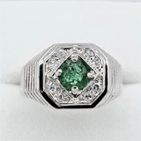 Sterling Silver Emerald & Cubic Zirconia Ring - New!