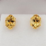 Sterling Silver Yellow Gold Beer Quartz Earrings - New!