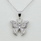 Sterling Silver Diamond Butterfly Pendant & Chain - New!