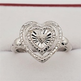 Sterling Silver Diamond Heart Ring - New!