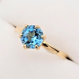 Yellow Gold Blue Topaz Solitaire Ring - New!
