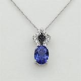 Sterling Silver Tanzanite, White Sapphire & Diamond Pendant & Chain - New!