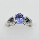 Sterling Silver Tanzanite, White Sapphire & Diamond Ring - New!