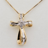 Sterling Silver Yellow Gold Plated Diamond Cross Pendant & Chain - New!