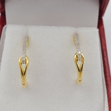 Sterling Silver Yellow Gold Plated Diamond Earrings - New!