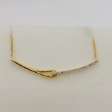 Sterling Silver Yellow Gold Plated Diamond Bar Necklace - New!