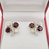 Sterling Silver Garnet, Opal & Cubic Zirconia Earrings - New!