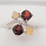 Sterling Silver Garnet, Opal & Cubic Zirconia Ring - New!