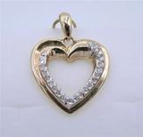 Yellow Gold Diamond Heart Pendant & Chain - New!