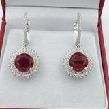 Sterling Silver Ruby & Cubic Zirconia Earrings - New!