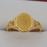 Sterling Silver Yellow Gold Plated Signet Ring - New!