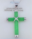 Sterling Silver Jadeite Cross Pendant & Chain - New!
