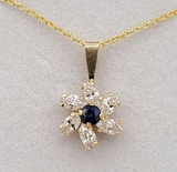 Yellow Gold Sapphire & Cubic Zirconia Pendant & Chain - New!