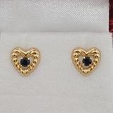 Yellow Gold Sapphire Heart Earrings - New!