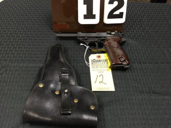 PISTOL - WALTHER - P.38 9mm - SERIAL #6906B - DA SEMI AUTO - Brown / Black; ac41; Matching Numbers;