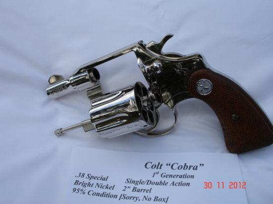 REVOLVER - COLT - COBRA 38 SPECIAL - SERIAL #142397B-LW - SA - Bright Nickel/Wood;  1st Generation;
