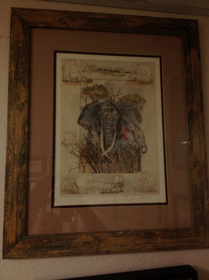 ART - ELEPHANTS - WATERCOLOR - SIGNED (LOWER RIGHT - PENCIL) - SIZE 14''x10'' - SIZE WITH FRAME 22''