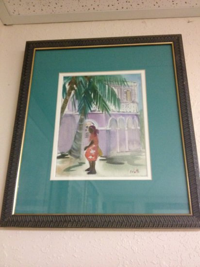 ART - CARIBBEAN WOMAN ON STREET - WATERCOLOR - SIGNED ARETTE (LOWER RIGHT - PAINT) - SIZE 8''x6'' -