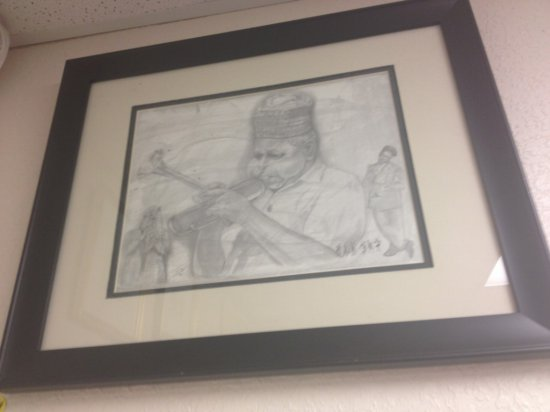 ART - BLUES PLAYER ON HORN - PENCIL SKETCH - SIGNED FRELL 96 (LOWER RIGHT - PENCIL) - SIZE 14''x11''