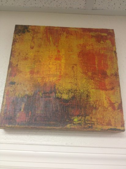 ART - ONE MARTINI - ORIGINAL OIL ON STRETCHED CANVAS / ABSTRACT - SIGNED PAUL BENDIETTO (TOP EDGE &
