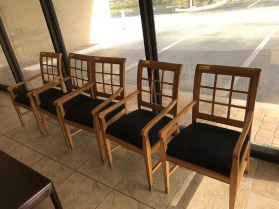 CHAIRS WITH WOOD ARMS & PADDED SEATS