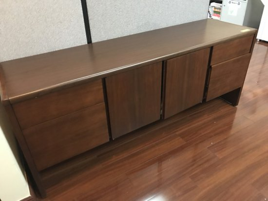 PIECES - WOOD CREDENZA WITH 4 DRAWERS & 2 DOORS / BOOKCASE