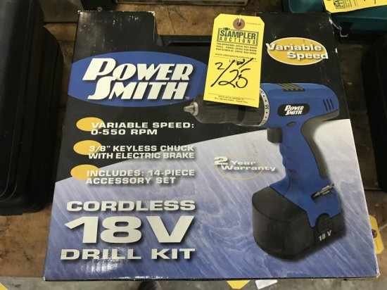 POWERSMITH CORDLESS 18V DRILL KIT WITH BATTERY CHARGER IN CASE (NEW IN BOX)