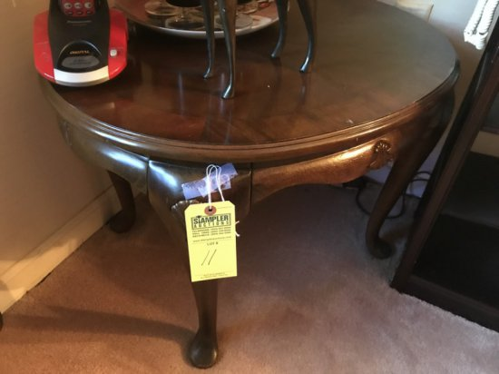 TWO-TONE WOOD END TABLE