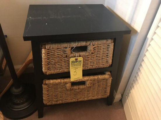 TABLE WITH 2 WICKER DRAWERS