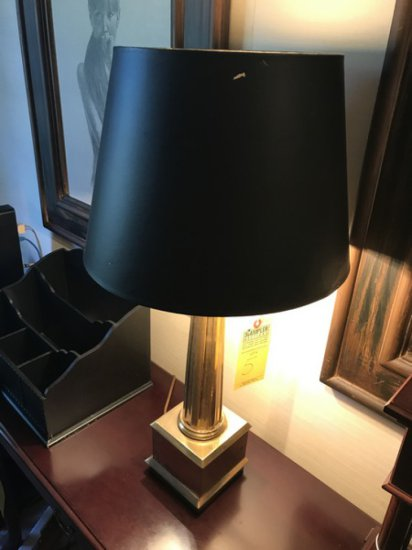 BRASS TABLE LAMP WITH BLACK SHADE - 27'' TALL