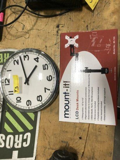 PIECES - CLOCK & MONITOR DESK MOUNT IN BOX