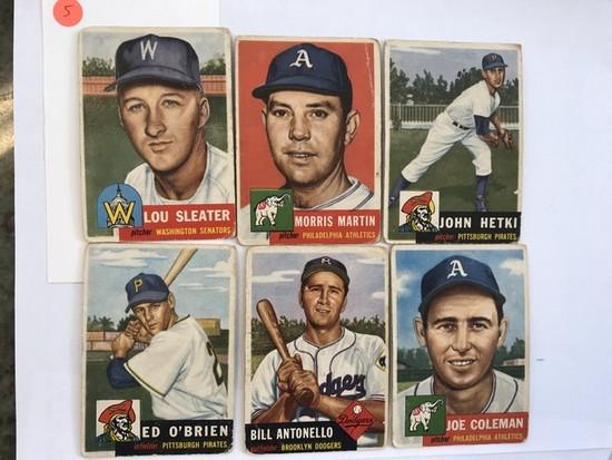 BASEBALL CARDS - 1953 TOPPS #224 / #227 / #235 / #249 / #272 / #279 - GRADE 1-2