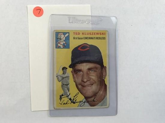 BASEBALL CARD - 1954 TOPPS #7 - TED KLUZEWSKI - GRADE 2-3