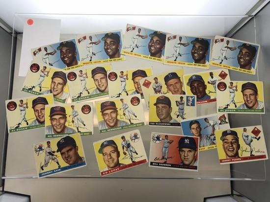 BASEBALL CARDS - 1955 TOPPS - STARS & HOF's / COMMONS 8 / 15 / 18 - GRADE 2-4
