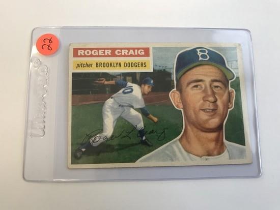BASEBALL CARD - 1956 TOPPS #63 - ROGER CRAIG - GRADE 1-2