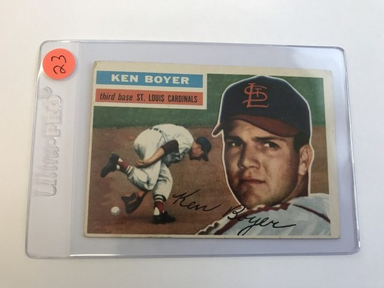 BASEBALL CARD - 1956 TOPPS #14 - KEN BOYER - GRADE 2-3
