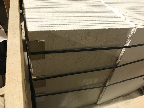 SQ.FT. - POLISHED VEIN CUT MARBLE - 16'' x 24'' x 7/16'' - 147 PIECES / 392.49 SQ.FT. (CRATE #71)