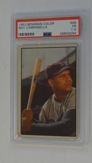 BASEBALL CARD - 1953 BOWMAN COLOR #46 - ROY CAMPANELLA - PSA GRADE 1.5
