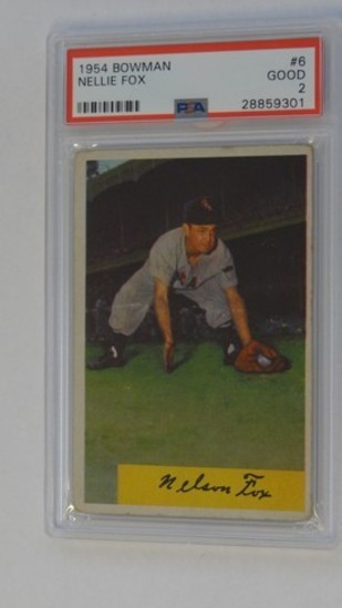 BASEBALL CARD - 1954 BOWMAN #6 - NELLIE FOX HOF - PSA GRADE 2