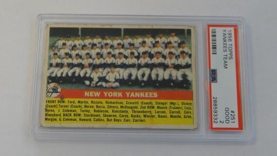 BASEBALL CARD - 1956 TOPPS #251 - YANKEES TEAM - PSA GRADE 2