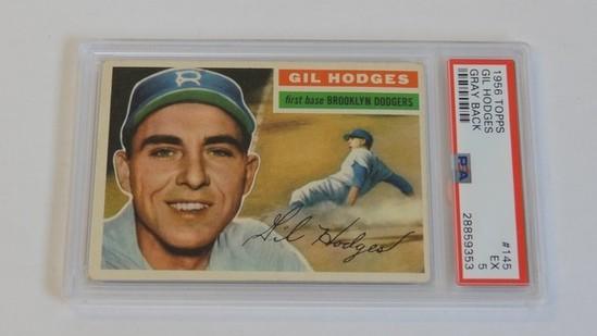 BASEBALL CARD - 1956 TOPPS #145 - GIL HODGES - PSA GRADE 5