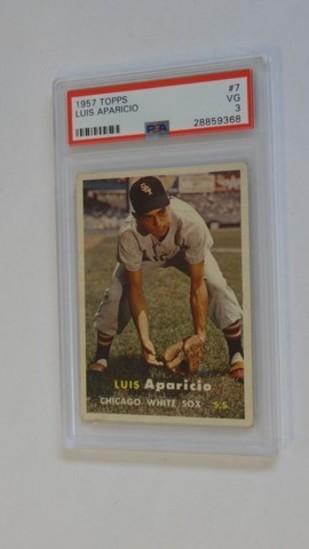 BASEBALL CARD - 1957 TOPPS #7 - LUIS APARICIO - PSA GRADE 3