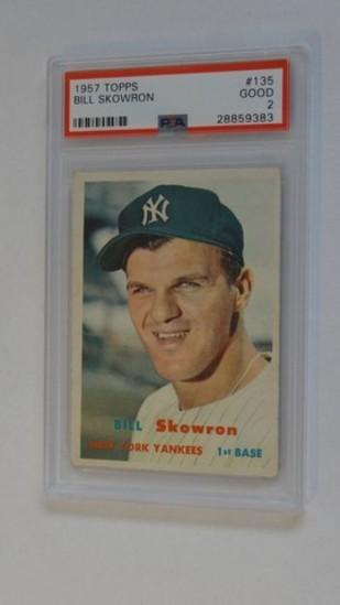 BASEBALL CARD - 1957 TOPPS #135 - BILL SKOWRON - PSA GRADE 2