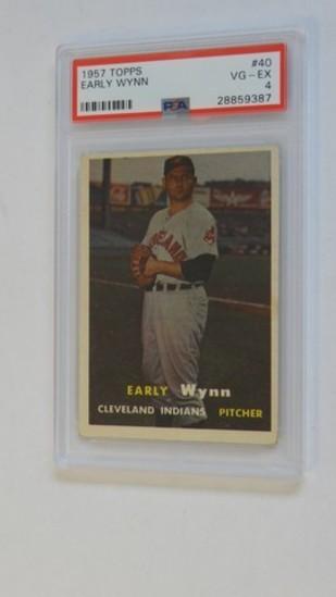BASEBALL CARD - 1957 TOPPS #40 - EARLY WYNN - PSA GRADE 4