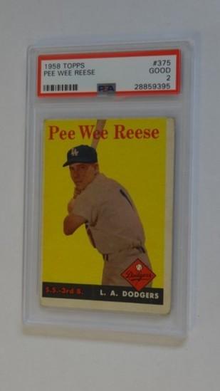 BASEBALL CARD - 1958 TOPPS #375 - PEE WEE REESE - PSA GRADE 2