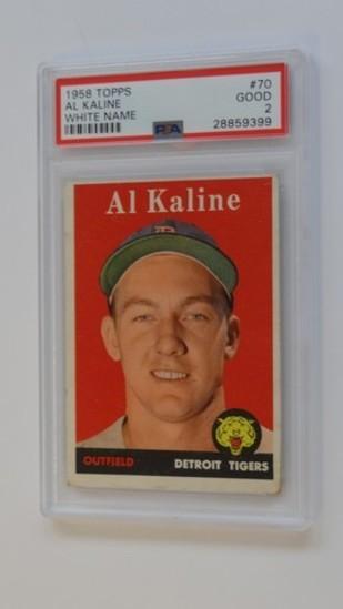 BASEBALL CARD - 1958 TOPPS #70 - AL KALINE - WHITE NAME - PSA GRADE 2
